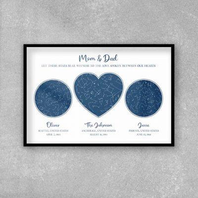 mom gift ideas - Custom Star Map Framed Print