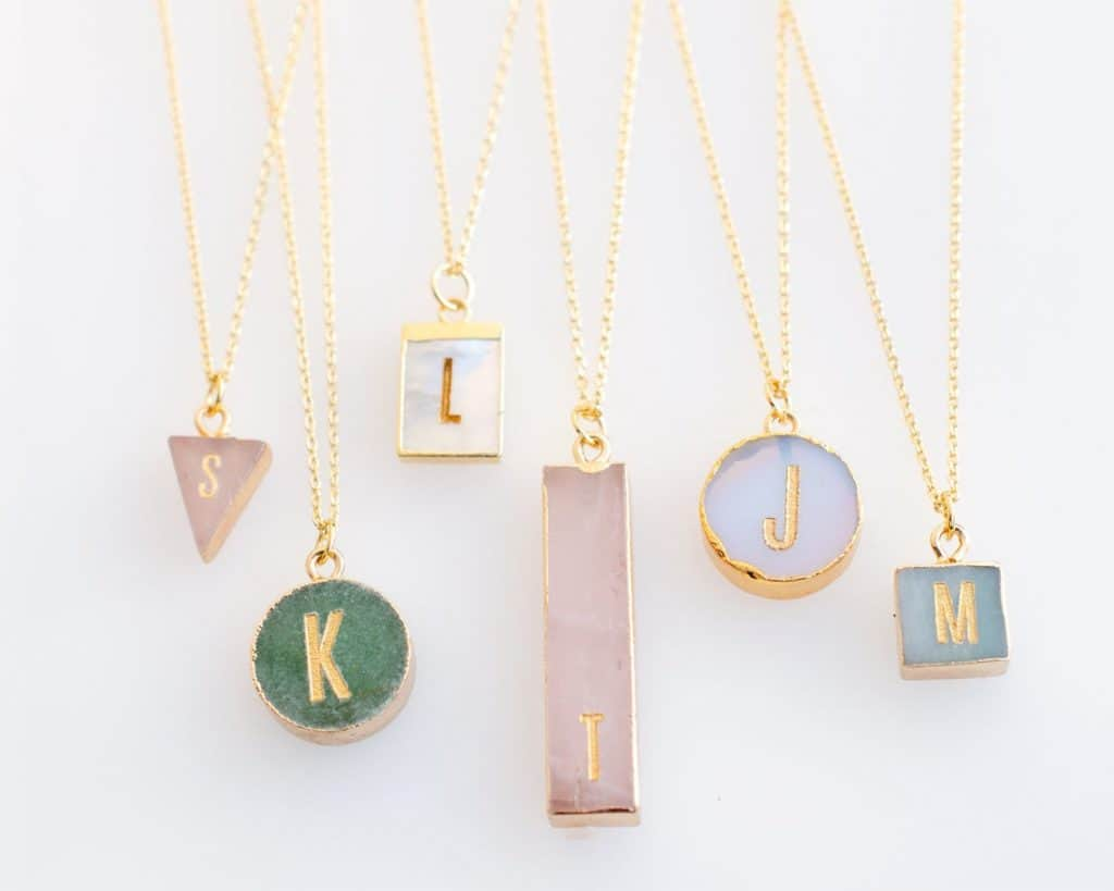 Gemstone Necklace With Initial Gift For New Moms