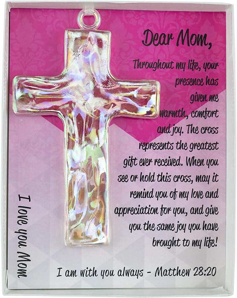Glass Cross for Mother with Poem - Religious Mother's day gifts
