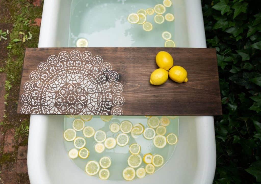 MANDALA Rustic Bath Caddy, Gift For New Mom