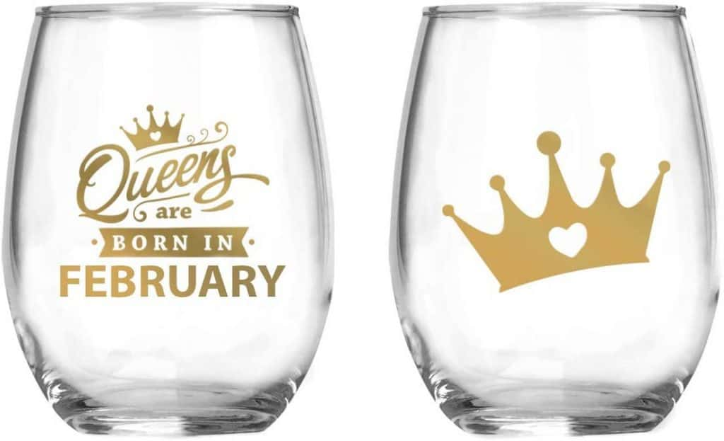 Queens Are Born In February Wine Glass Birthday Gift For Mom