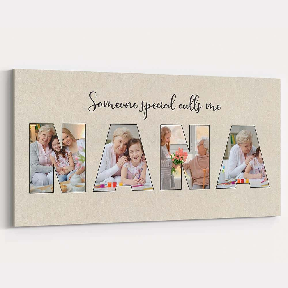 a letter photo canvas print gift for mom who is a grandma on birthday