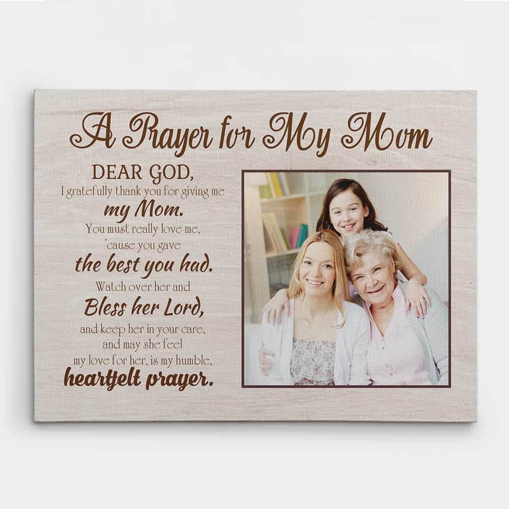 a prayer for my mom photo canvas print, christian mother's day gifts