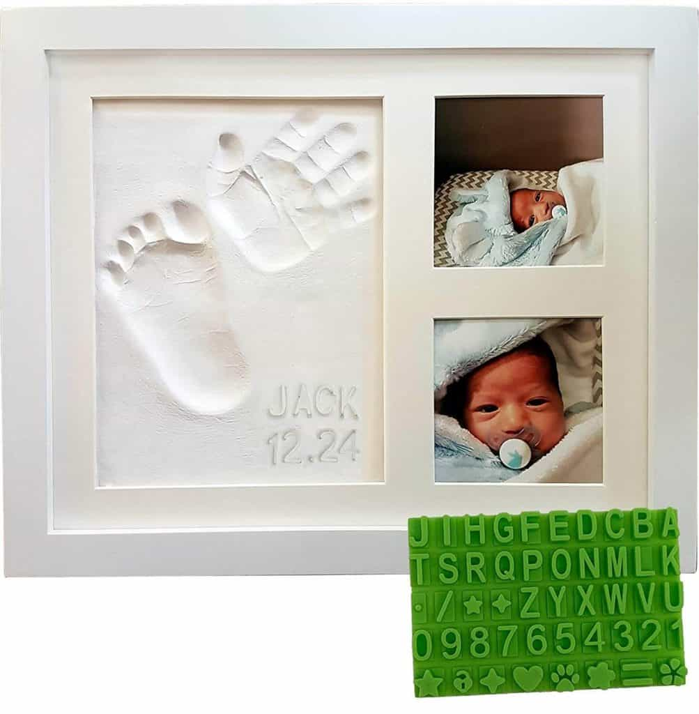 personalized gifts for new moms: baby hand and foot print keepsake photo frame kit