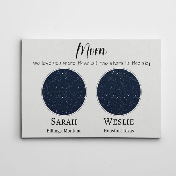 personalized mothers day gifts: custom star map canvas print