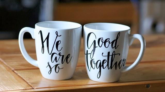handmade anniversary gifts: diy his and hers mugs