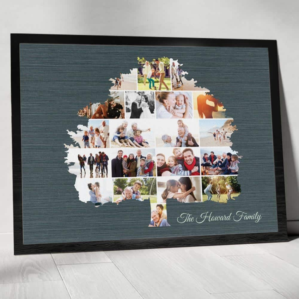 a family tree photo collage canvas print as birthday gift for mom