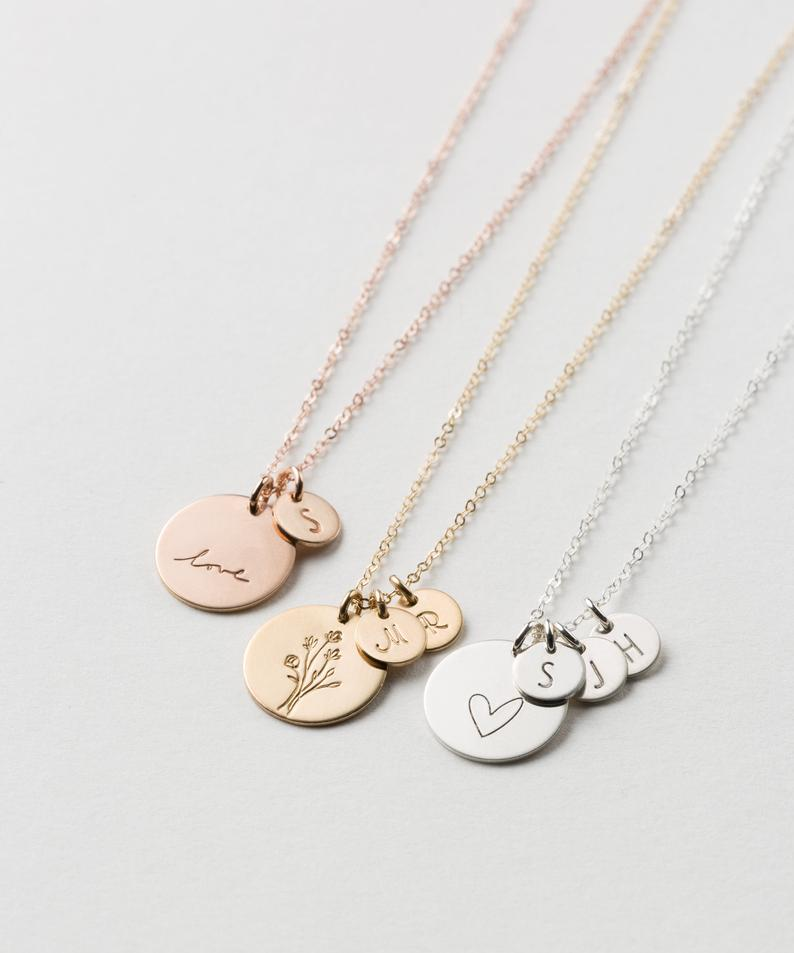 personalized gifts for mothers day: personalized disc necklace with initial tags