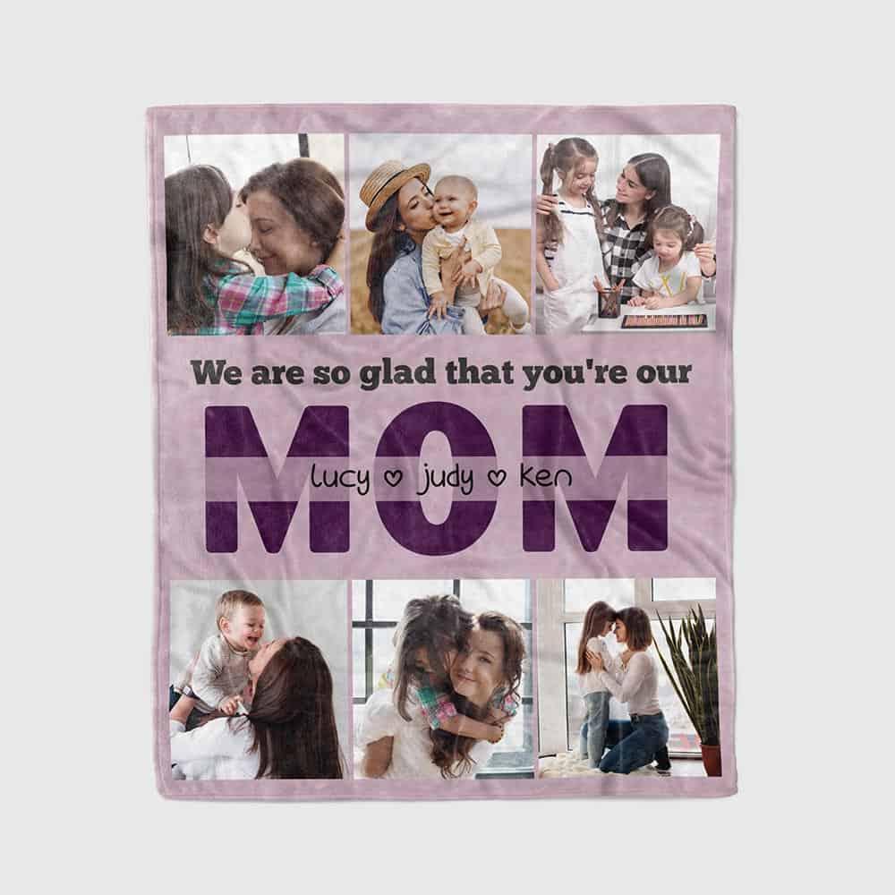 a custom photo blanket for mom as a birthday gift