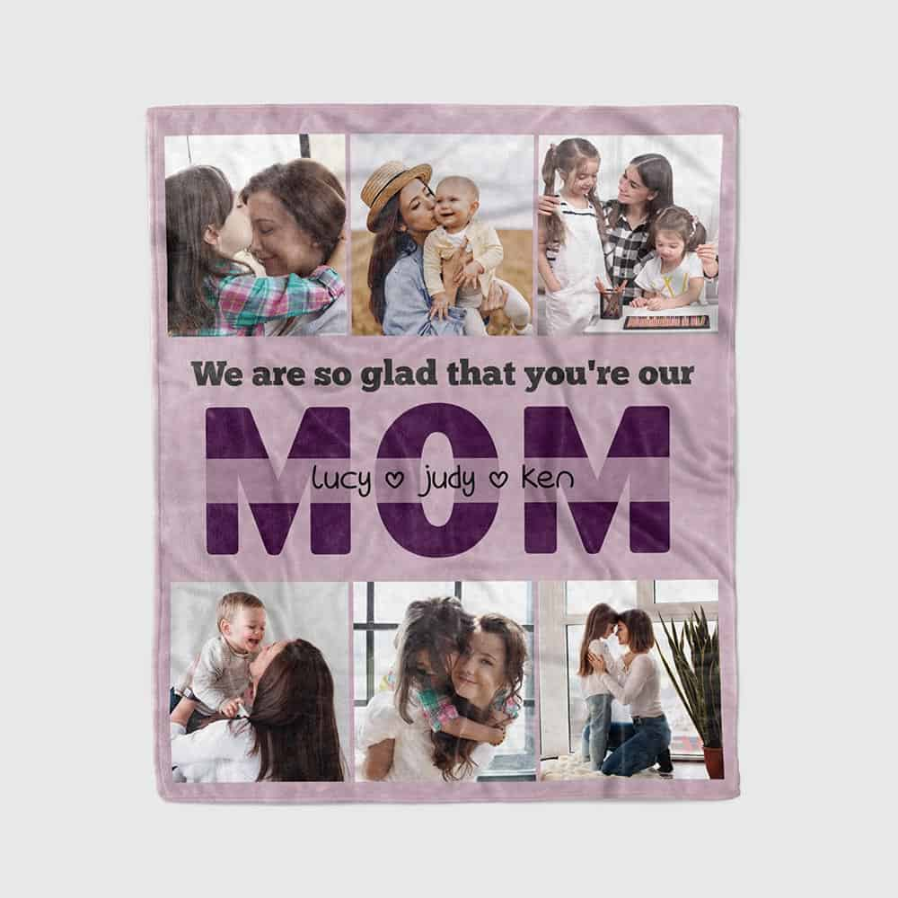 photo collage blanket for mom