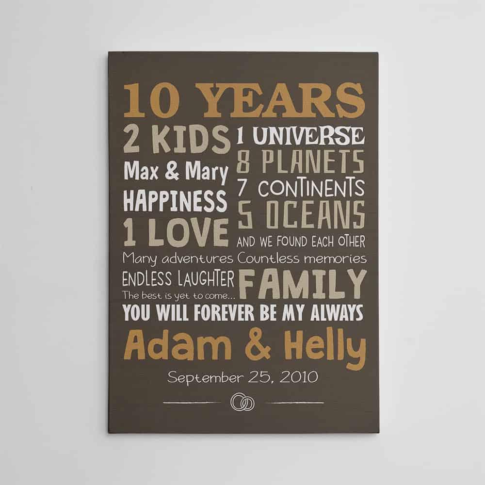 10 years anniversary custom canvas print