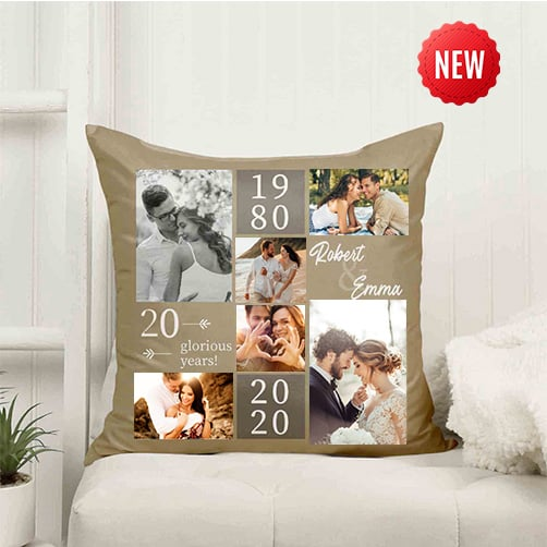 20th Anniversary Photo Collage Pillow