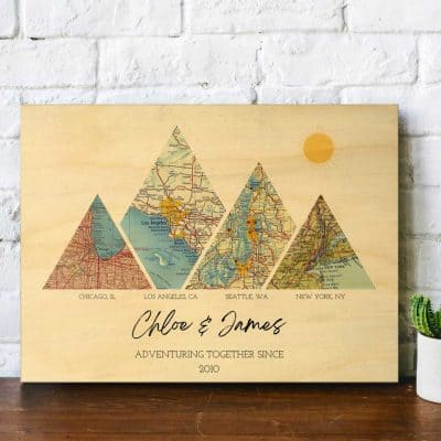 thoughtful anniversary gifts for her:  Adventure Map on Wood