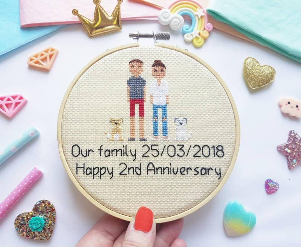 Cross Stitch Family Portrait Happy 2nd anniversary gift for her