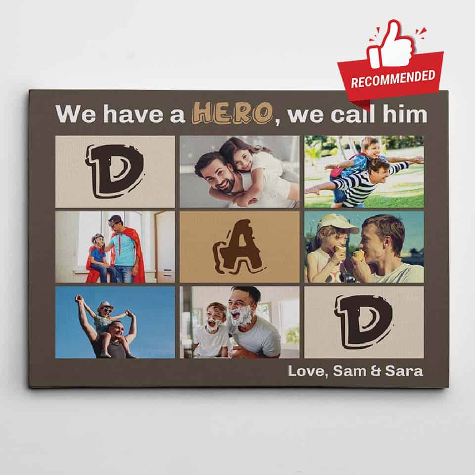 personalized fathers day gifts - custom collage canvas for dad