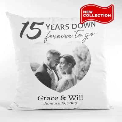 romantic anniversary gifts for her: Custom Photo And Name Anniversary Pillow