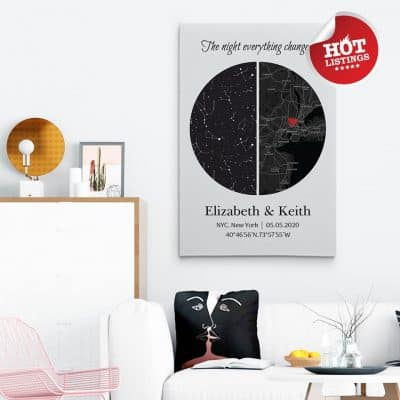 best anniversary gifts for her 2021: Custom Star Map And City Map Canvas Print