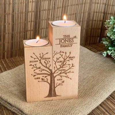 best anniversary gifts for her 2021: Family Tree Candle Holder