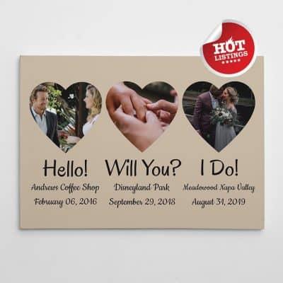 creative anniversary ideas for her: Hello Will You I Do Photo Canvas