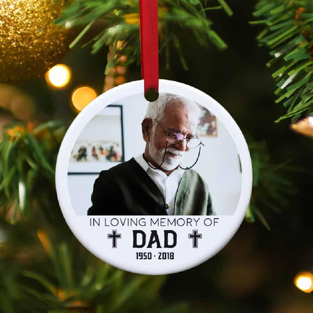 In Loving Memory Of Dad Memorial Photo Ornament Gift