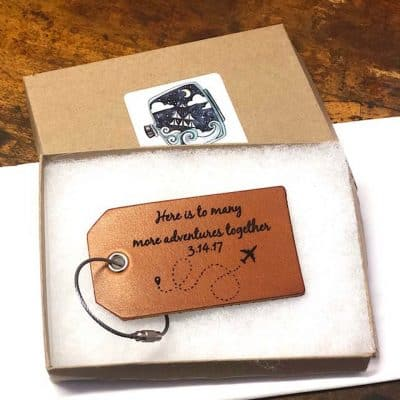wedding anniversary ideas for her:  Leather Luggage Tag