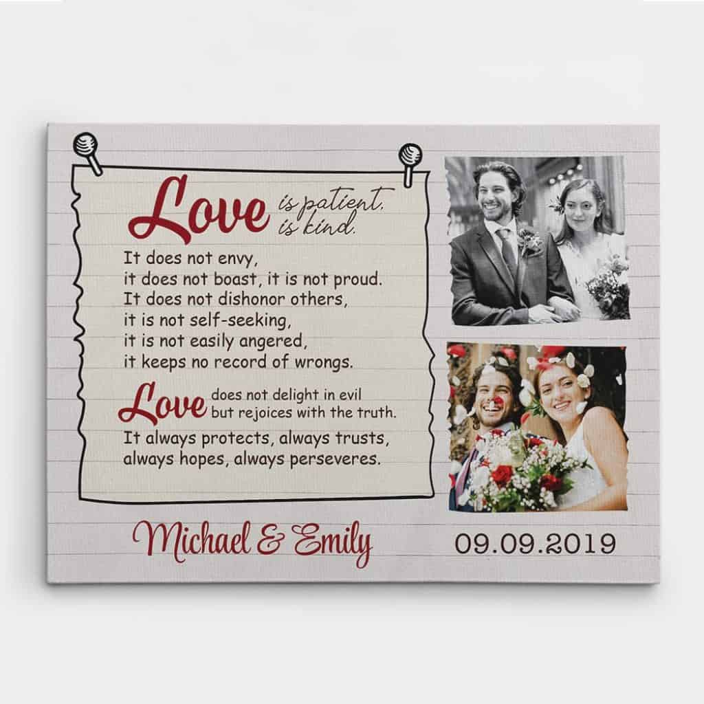 """""""Love Is Patient, Love Is Kind"""" Custom Photo Canvas"""