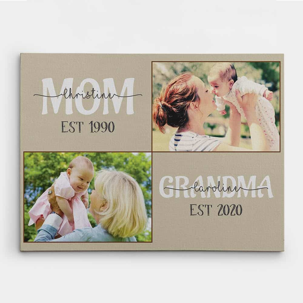 new grandmothers gifts: mom and grandma established custom canvas print