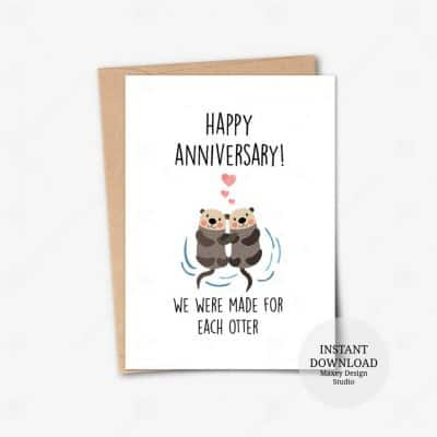 anniversary presents for her: Otter Anniversary Card