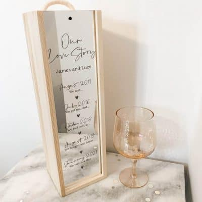 anniversary presents for her: Our Love Story Wine Box