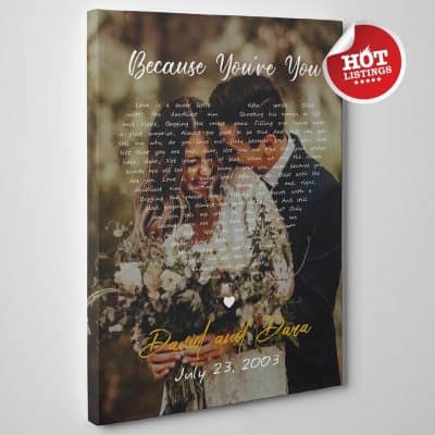 things to get her for anniversary: Song Lyrics on Photo Canvas