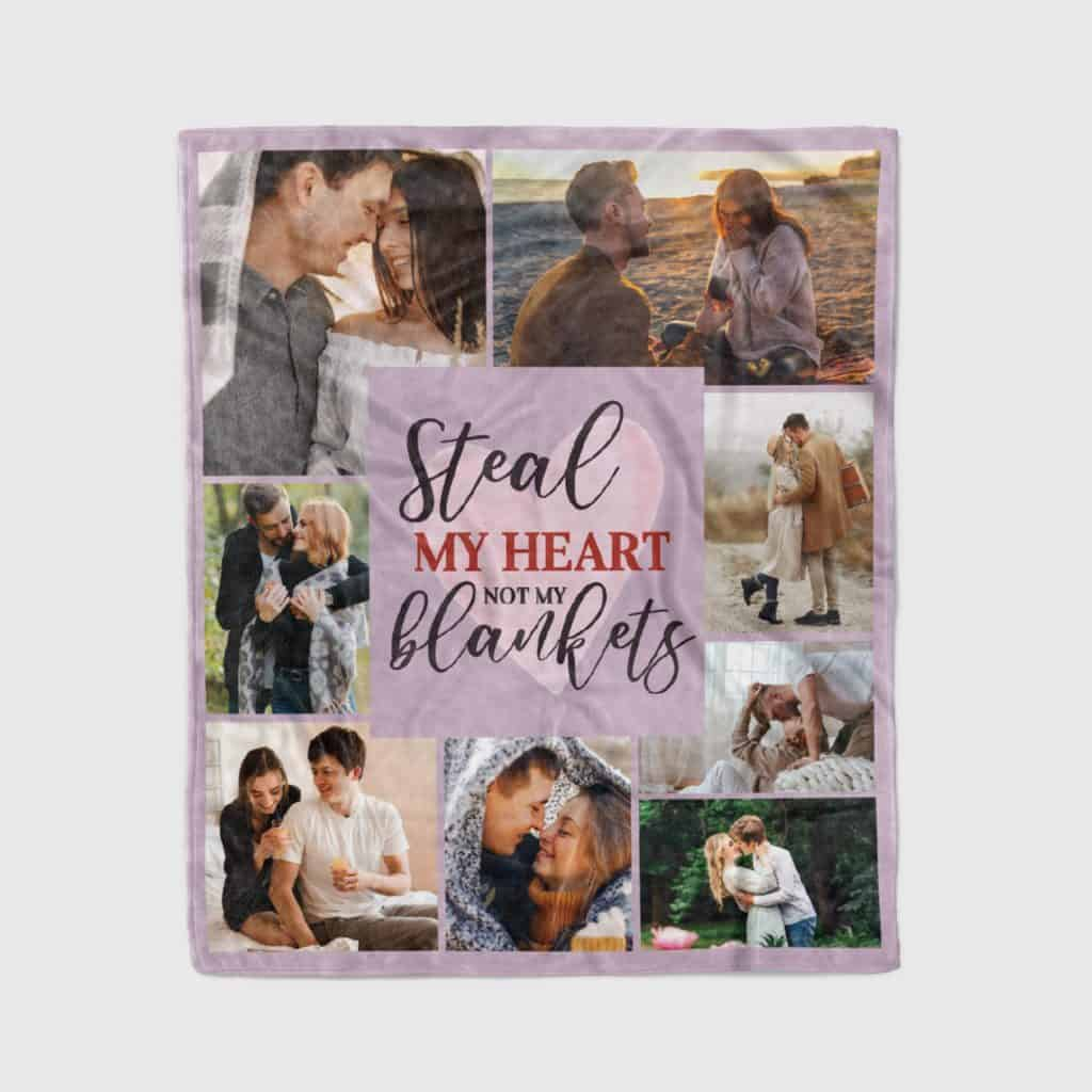Steal My Heart Not My Blankets - Photo Collage Throw Blanket Anniversary Gift