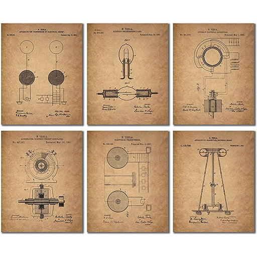 Tesla Patent Wall Art Prints engineers gifts