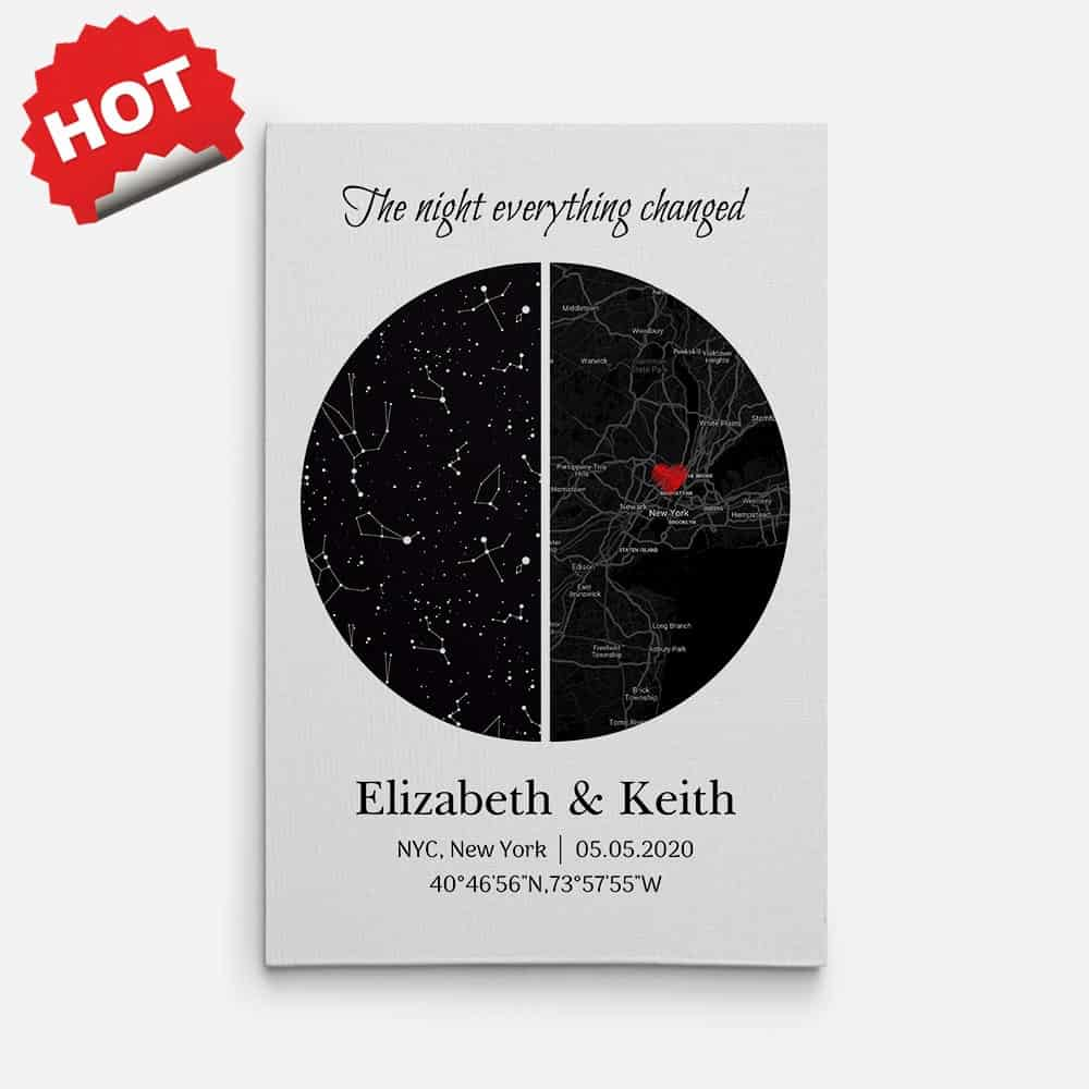 The Night Everything Changed Sky map - 1 year anniversary gifts for girlfriend