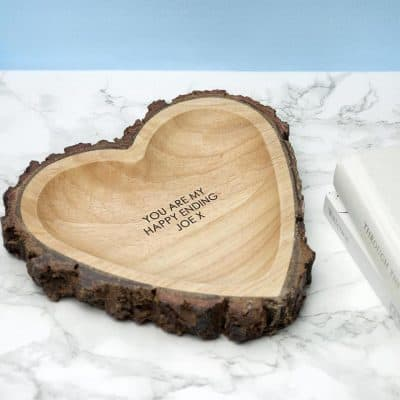 wife anniversary gifts: Wooden Heart Ring Dish