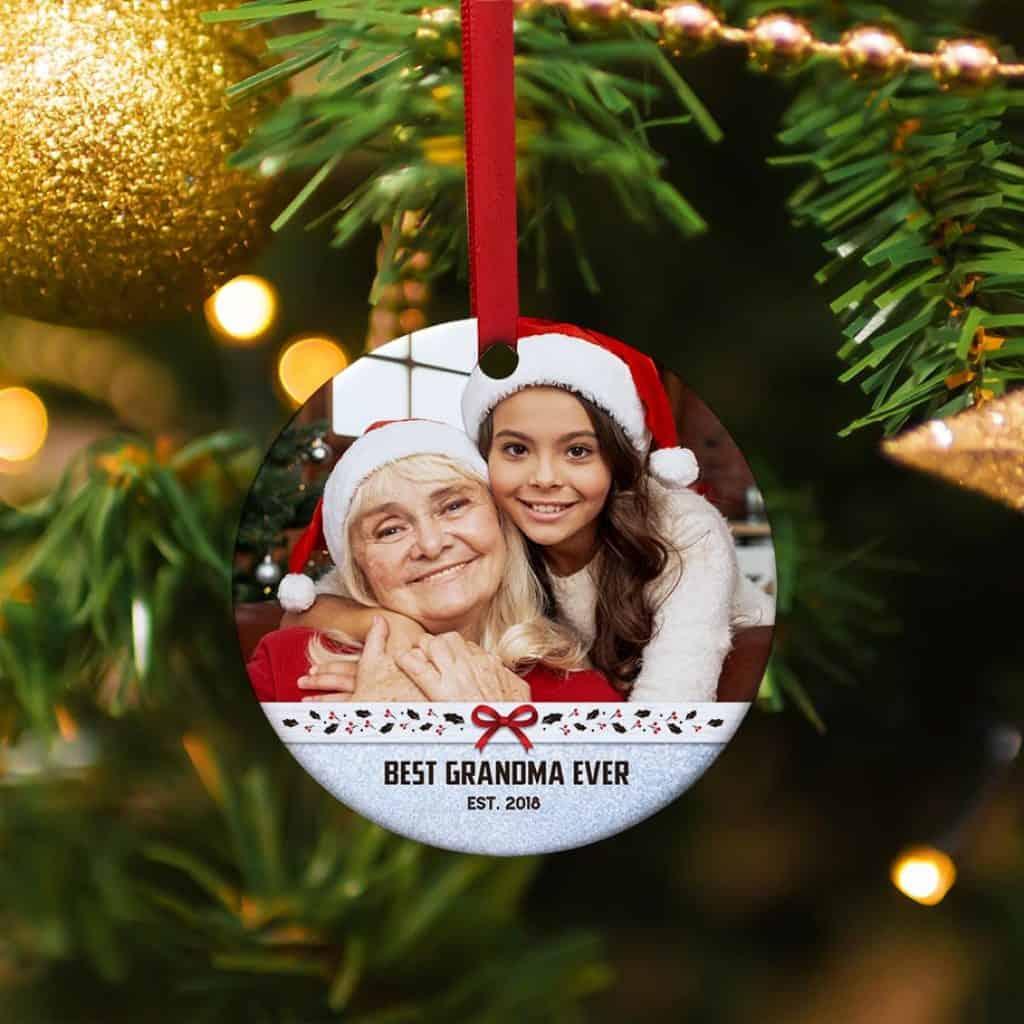 personalized grandma gift: custom photo christmas ornament