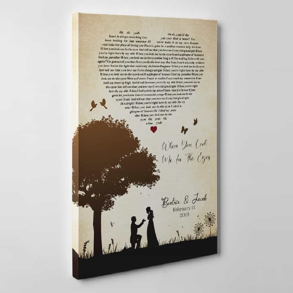 couple silhouette canvas print with song lyrics 2nd anniversary gift