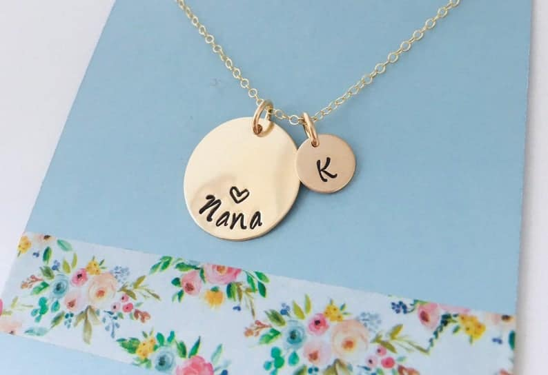 gift for new grandma: custom necklace with title and baby's initial