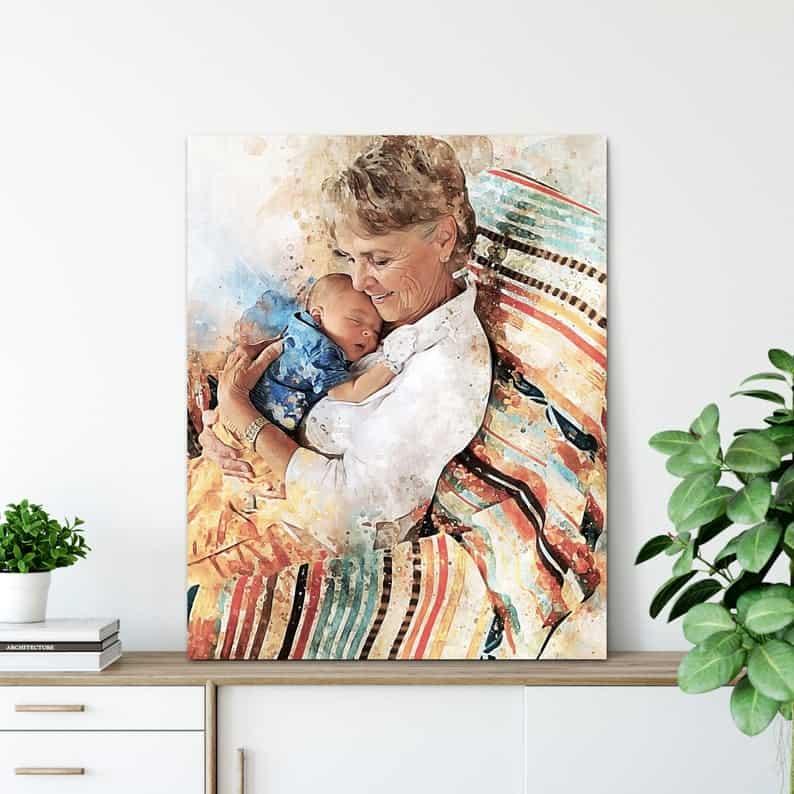 custom gifts for grandma: custom portrait print