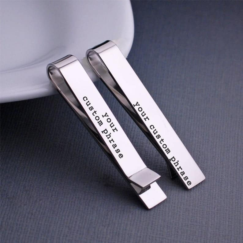 creative anniversary gifts for him: custom tie clip