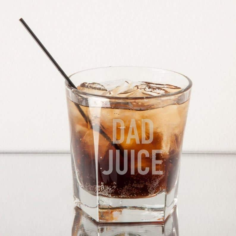 funny dad juice whiskey glass