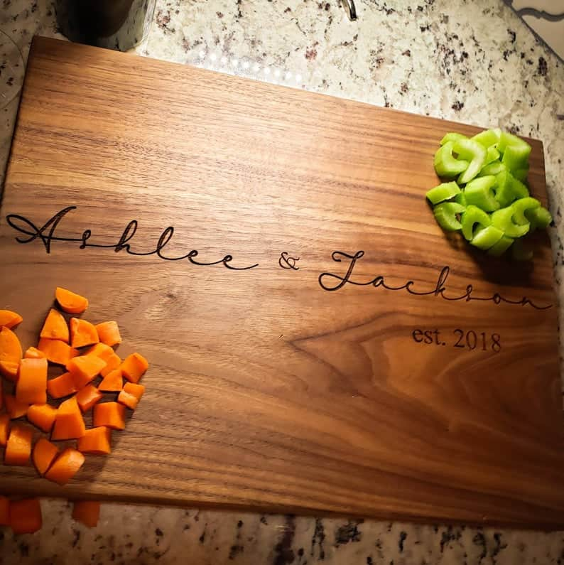 mens anniversary gifts ideas: engraved cutting board