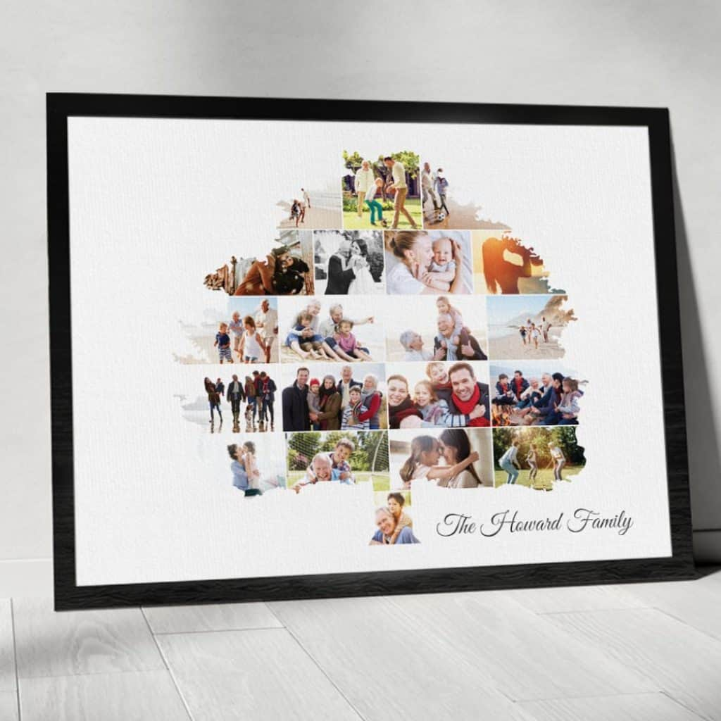 photo gifts for grandma: family tree photo collage canvas print