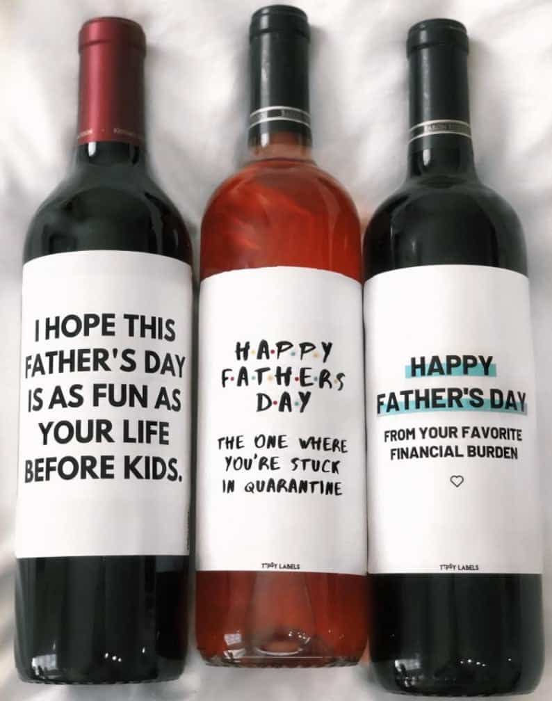 fun fathers day gifts: funny fathers day wine labels