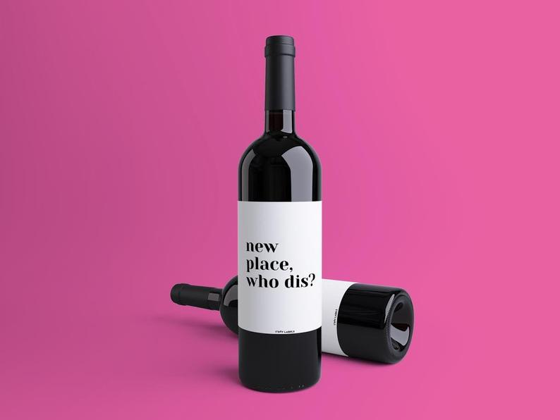 funny housewarming gift ideas: funny wine labels