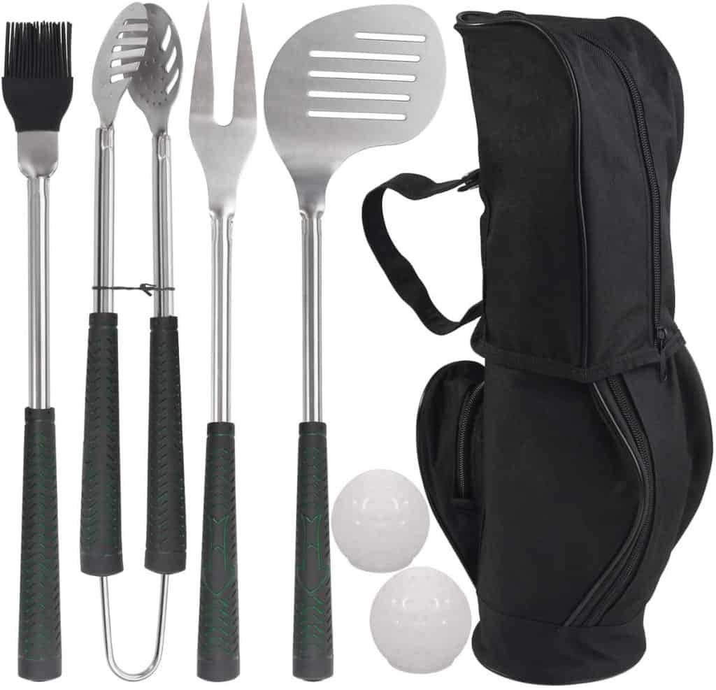 golf-club style grilling accessories set