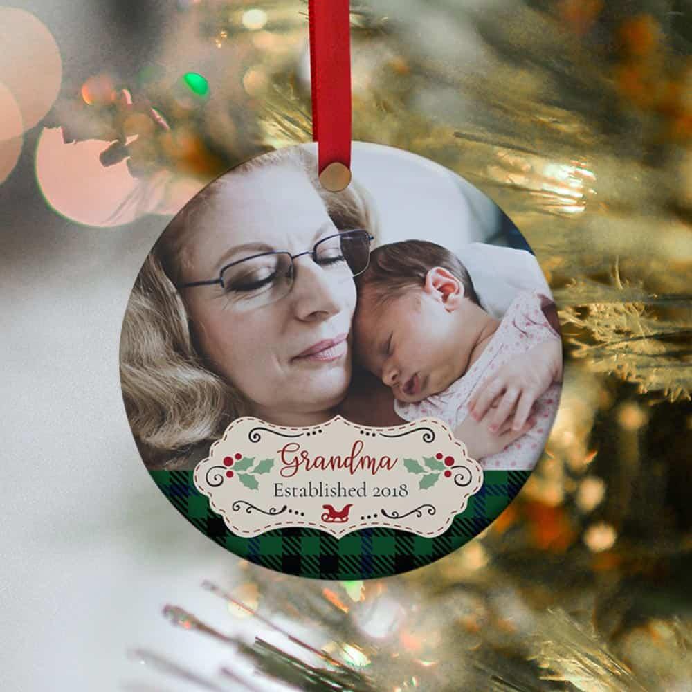 new grandma christmas gifts: grandma established custom photo ornament