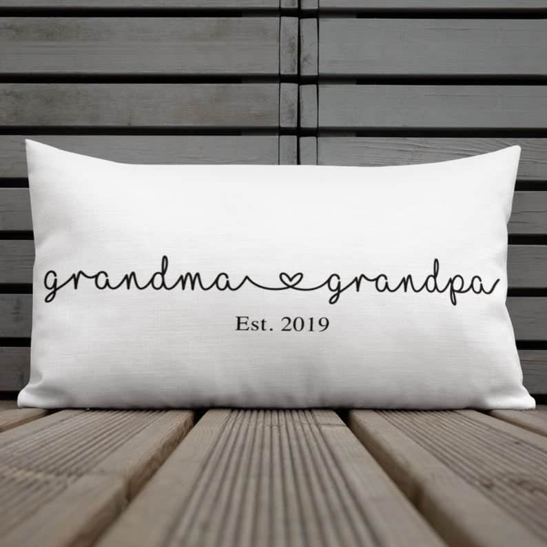 gifts for new grandparents: grandma and grandpa established pillow