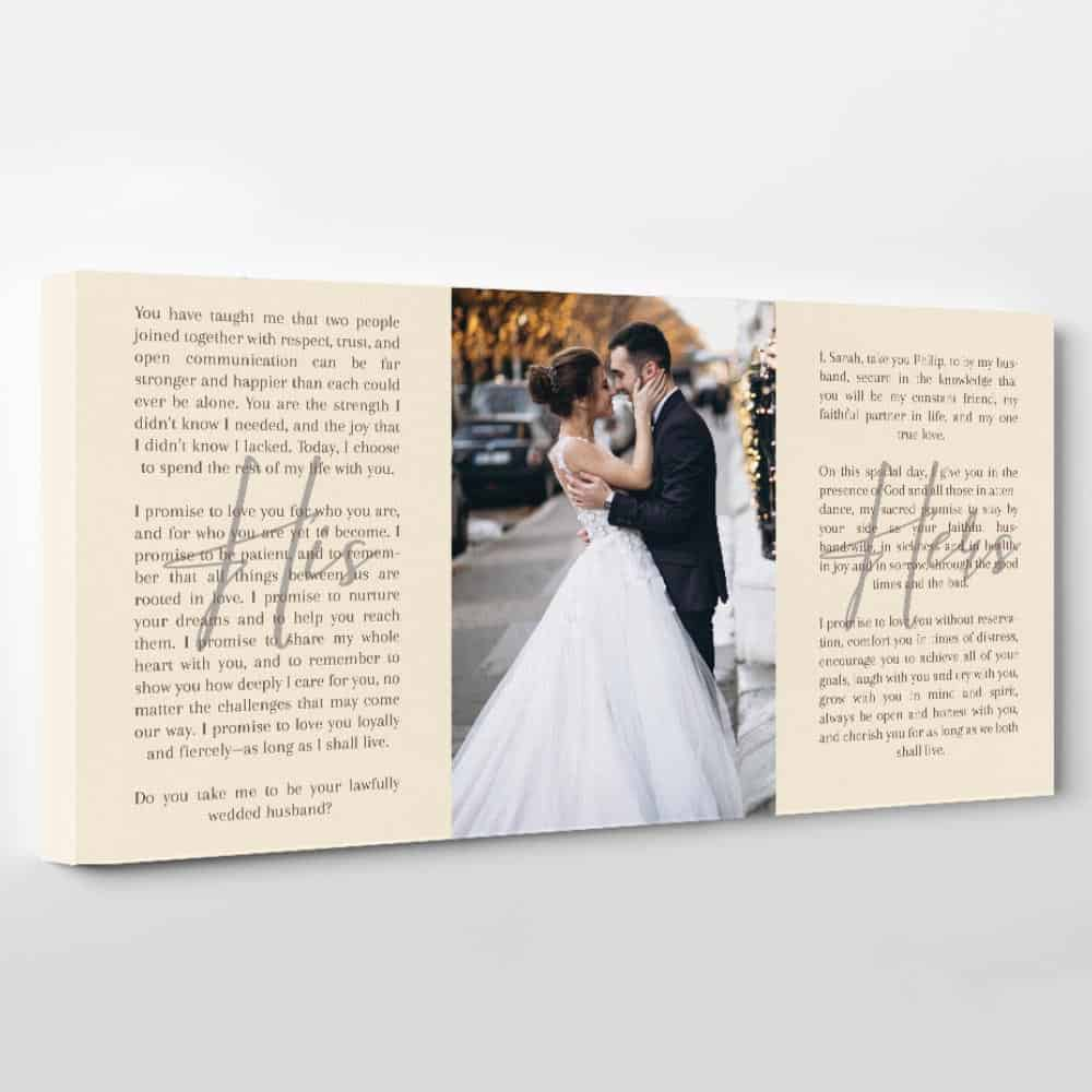 wedding vows and photo canvas print