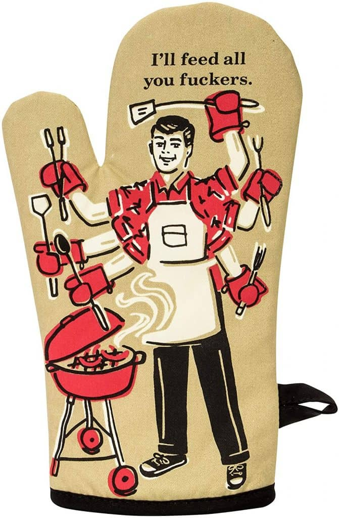 funny fathers day gift ideas: i'll feed all you fuckers oven mitts