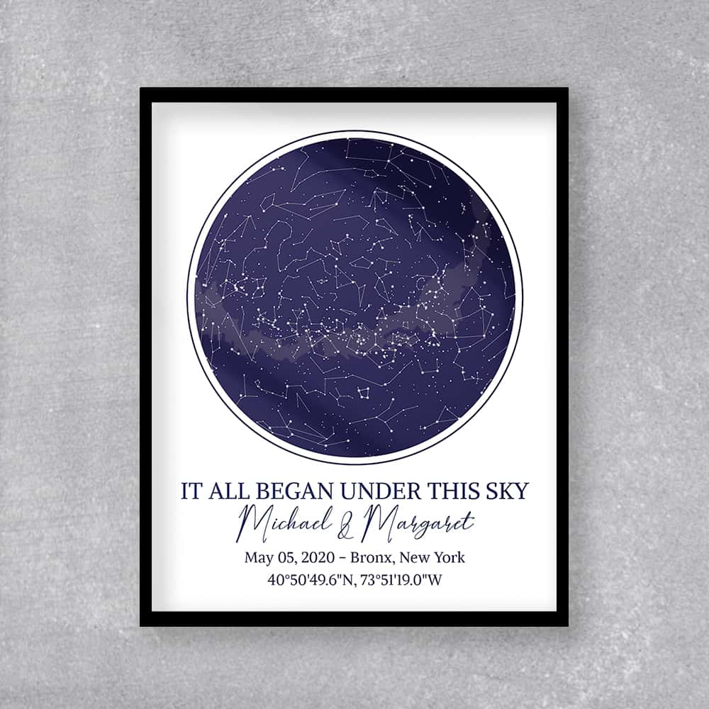 it all began under this sky star map framed print